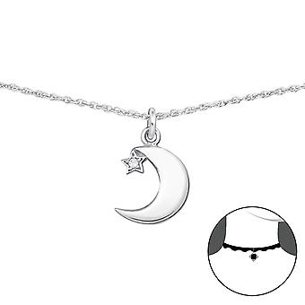 Moon And Star - 925 Sterling Silver Chokers - W34702x