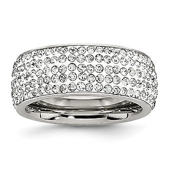 Acier inoxydable en cristal poli 9mm Eternity Ring Jewelry Gifts for Women - Ring Size: 7 to 9