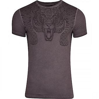 Brave Soul Mens Tiger Print Short Sleeved Tee Shirt Top Acid Wash