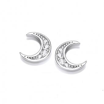 Cavendish French Silver and CZ Crescent Moon Earrings
