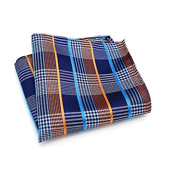 Orange grey & baby blue tartan stripe pocket square