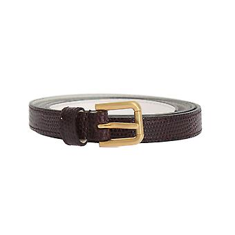 Dolce & Gabbana Bordeaux Leather Gold Buckle Belt