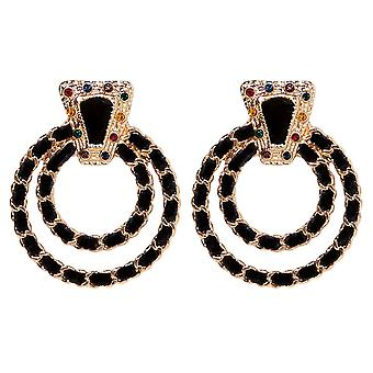 Earring double rings in black and gold
