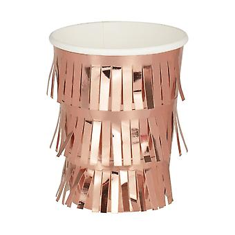 Fringe Rose Gold Paper Birthday Party Cups x 8