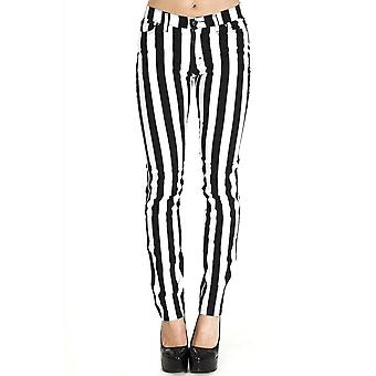 Run & Fly Black & White Stripe Stretch Skinny Jeans