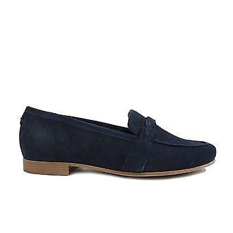 Tamaris 24228 Navy Mocka Läder Kvinnor Slip på Loafer Skor