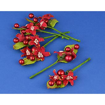 SALE - 12 Pack 13cm Christmas Poinsettia and Berries | Christmas Floristry Supplies