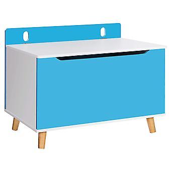 Puinen säilytyslaatikko / lelulaatikko - valkoinen / sininen - 100 l