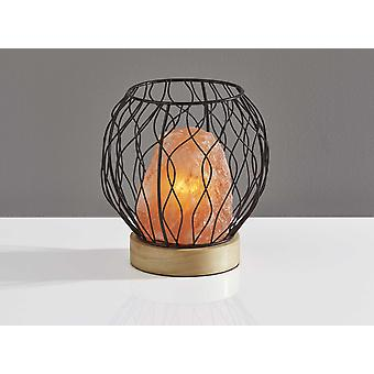 Himalayan Salt Table Lamp With Black Metal Wire Cage