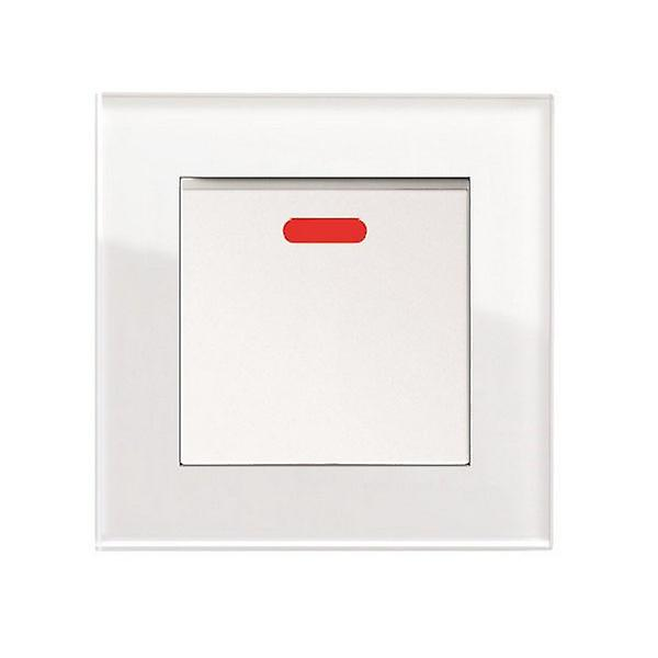 I LumoS AS Luxury White Crystal Glass Single Switched 45A Cooker Switch