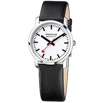 Mondaine simplemente elegante cuero negro correa Mens señoras reloj A400.30351.11SBB 36mm