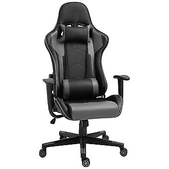 Vinsetto High Back Racing Gaming Chair Reclining 360° Swivel Rocking Height Adjustable with Pillow and Build-in Lumbar Home Black PU Leather