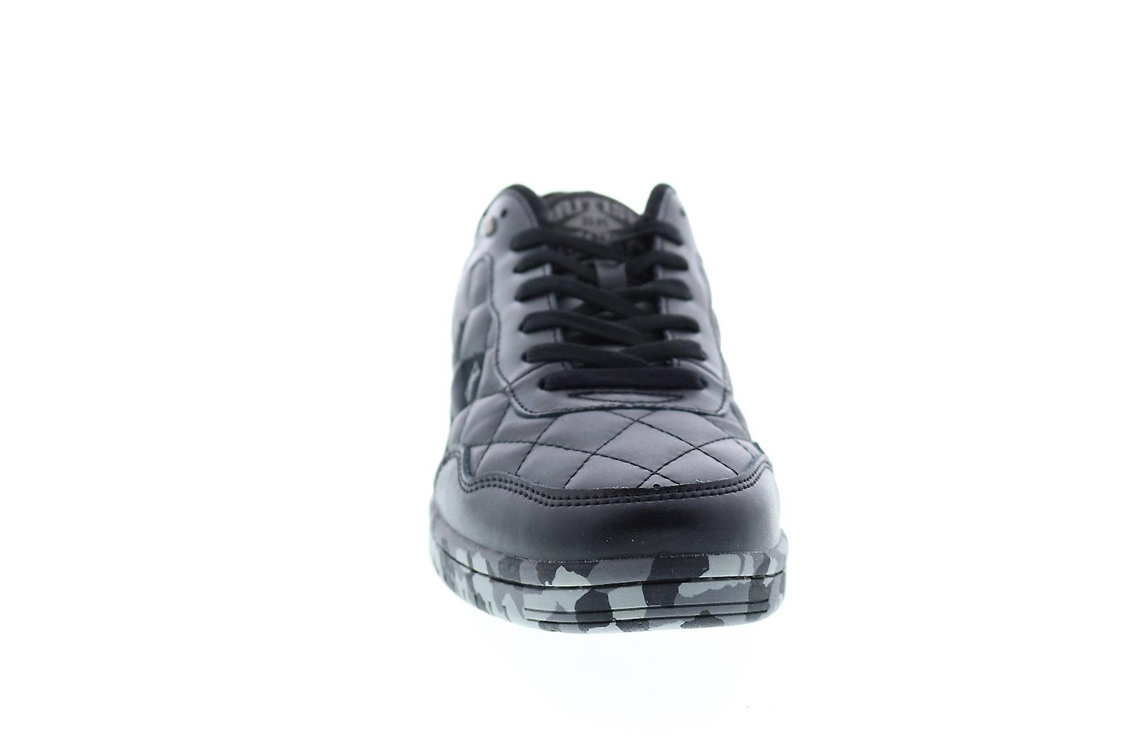 British Knights Quilts Mens Black Leather Low Top Sneakers Shoes