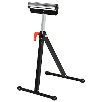 HOMCOM Folding Roller Stand, Material Support Pedestal with Ball Bearing Roller Height Adjustable Portable, Metal Construction, Black