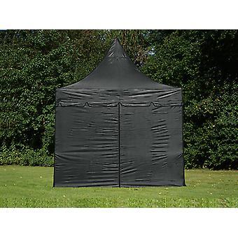 Tente pliable FleXtents PRO Peak Pagoda 3x3m Noir, Incl. 4 parois latérales