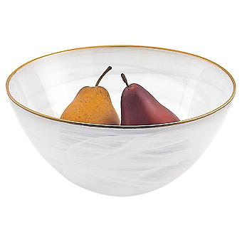 """10"""" Hand Crafted White Gold Glass Fruit or Salad Bowl With Gold Rim"""