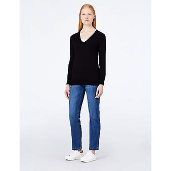 MERAKI Women's Cotton V Neck Sweater, (Zwart), XL (US 12-14)