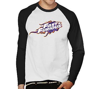 Nopea ja raivoissaan oranssi violetti logo miesten ' s baseball pitkähihainen T-paita