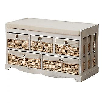 Rebecca Furniture Bench Chest of Drawers White Bege 5 Wicker Drawers Seat 44x76x34