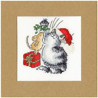 Bothy Threads Cross Stitch Card Kit - Under The Mistletoe