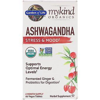 Jardín de la vida, MyKind Orgánicos, Ashwagandha, Estrés y Estado de ánimo, 60 tabletas veganas