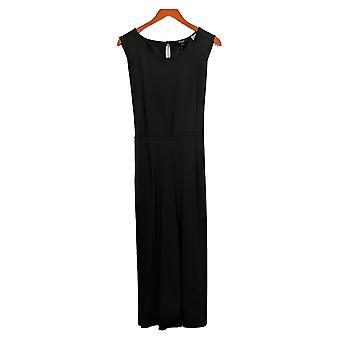 Du Jour Petite Jumpsuits Cropped Wide Leg w/ Tie Waist Black A366248