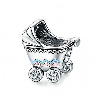 Zilveren Bedel Kinderwagen - 6763