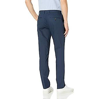 Brand - Goodthreads Men's Slim-Fit Wrinkle-Free Comfort Stretch Dress Chino Pant, Navy Pinstripe 32W x 31L
