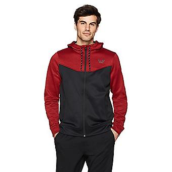 Peak Velocity Men's Quantum Fleece Full-Zip Loose-Fit Hoodie, couple chaleur rouge...