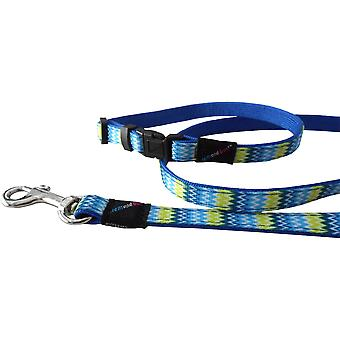 Hem & Boo Zig Zags Pattern Nylon Puppy Dog Collar & Lead Set