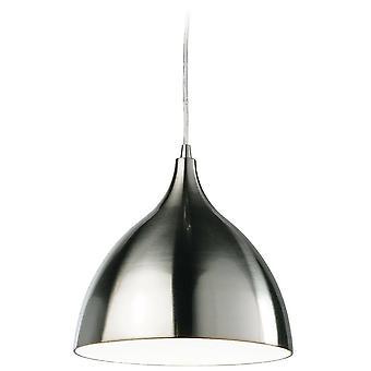 1 Light Dome Soffitto Ciondolo Acciaio spazzolato, Bianco Interno, E27