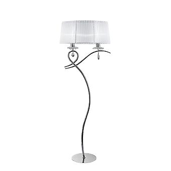 inspirert mantra - louise - gulvlampe 2 lys E27 med hvit skygge polert krom, klar krystall