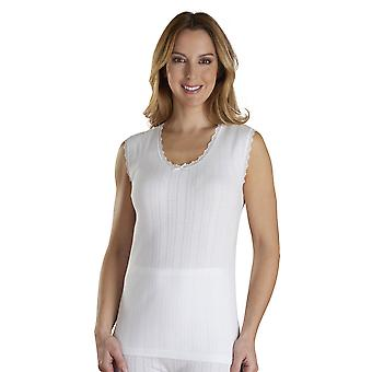 Slenderella VUW301 Mujer's Vedonis White Cotton Sleeveless Top