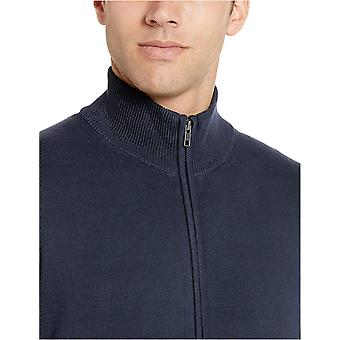 Essentials Men's Cotton Full-Zip Sweater, Navy, Small