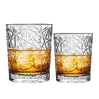Bormioli Rocco Lounge Diamond Cut Whisky Glasses and Double Old Fashioned Tumblers - 275ml, 370ml - 12pc Set