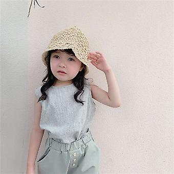Children's Wear Summer Korean Plaid Linen Cotton Vest Shirt Sleeveless Round