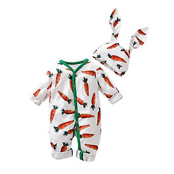Infant Baby Boys & Girls Cartoon Carrot Print Romper Kawaii Kids Winter Keep Warm Jumpsuit Rrabbit Ears Hat Set