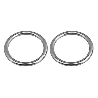 2PCS 6x50mm 304 Stainless Steel Seamless Ring Heavy Duty Round Ring