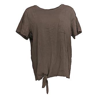 Anybody Women's Top Cozy Knit Side Tie T-Shirt w/ Pocket Beige A353777