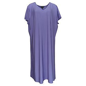 Antthony Petite Dress Jersey Knit Double V-Neck A-Line Midi Purple 695-066