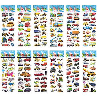 Different Sheets Of Cartoon, Traffic Car, Aircraft Stickers For Scrapbook