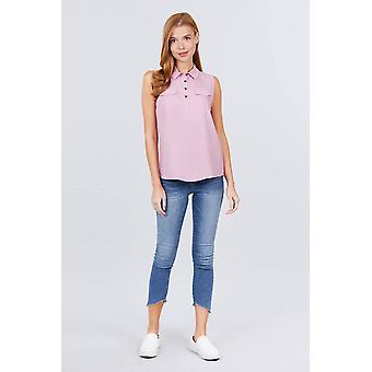 Sleeveless Front Flap Pocket Shirts