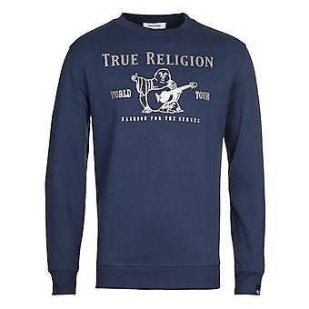 True religion men's navy chad core crew neck sweatshirt