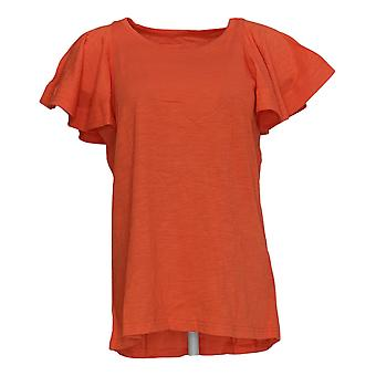 DG2 por Diane Gilman Women's Top Coral Red Tunic Cotton Short Sleeve 718-519
