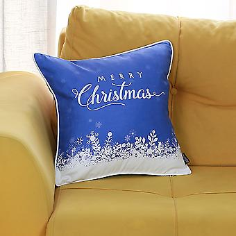 """Christmas Snow Blue Square 18"""" Throw Pillow Cover"""