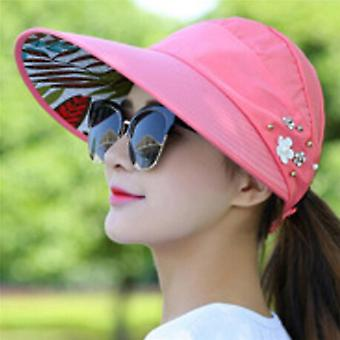 Summer Outdoor Riding Anti-uv Sun Hat Beach Foldable Sunscreen Floral Print