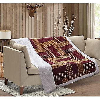 Spura Home Homestead Red Patchwork Quilted Sherpa Throw