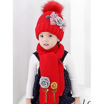 Doitbest Flower 3-8 Years Hailball Beanies Sets Velvet Wool Kids Knit Fur Hats