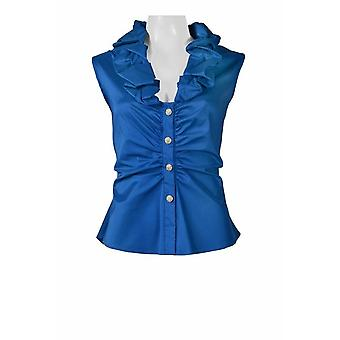 Ruffled Neck Sleeveless Ruched Button Solid