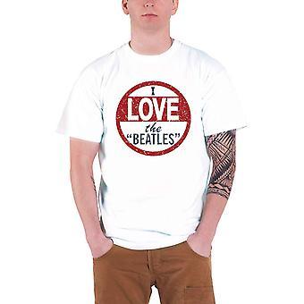 Beatles T-paita Rakastan Beatles Vintage logo virallinen Mens New White